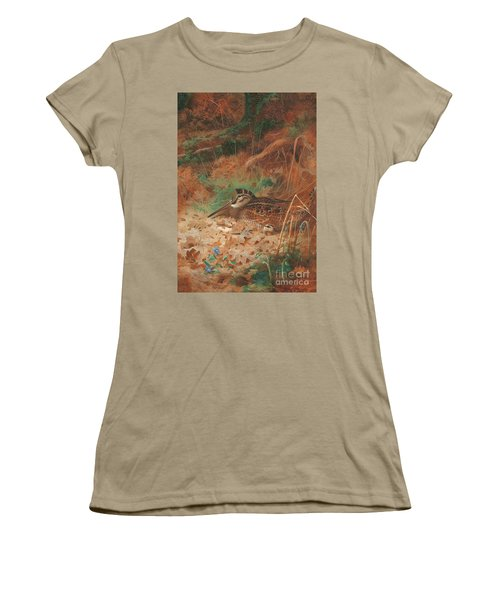 A Woodcock And Chick In Undergrowth Women's T-Shirt (Junior Cut) by Archibald Thorburn