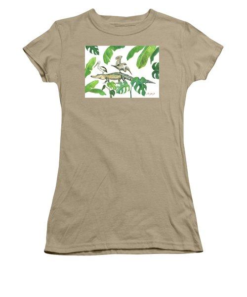 Alligator And Pelicans Women's T-Shirt (Junior Cut) by Juan Bosco