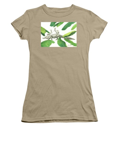 Alligator With Pelicans Women's T-Shirt (Junior Cut) by Juan Bosco