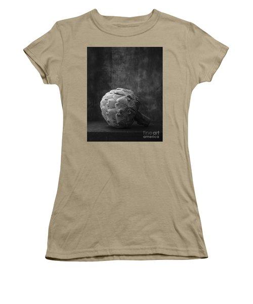 Artichoke Black And White Still Life Women's T-Shirt (Junior Cut) by Edward Fielding