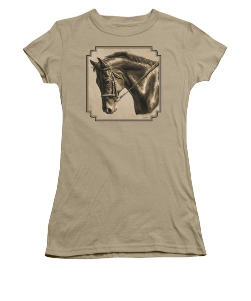 Horse Painting - Focus In Sepia Women's T-Shirt (Junior Cut) by Crista Forest