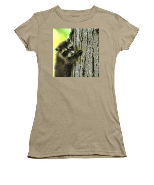 Baby Raccoon In A Tree Women's T-Shirt (Junior Cut) by Dan Sproul