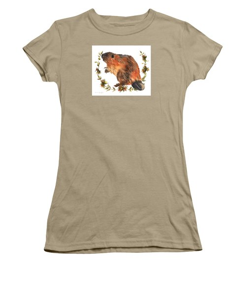 Beaver Painting Women's T-Shirt (Junior Cut) by Alison Fennell