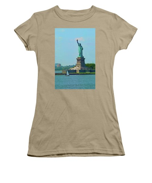 Big Statue, Little Boat Women's T-Shirt (Junior Cut) by Sandy Taylor