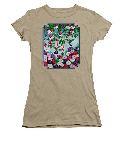 Bird Painting - Hummingbird Heaven Women's T-Shirt (Junior Cut) by Crista Forest