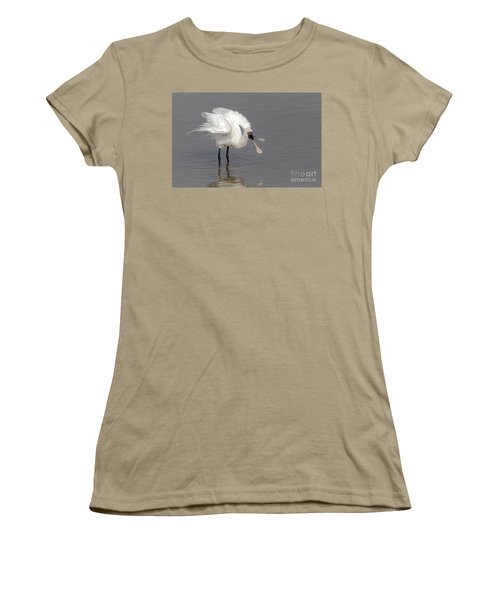 Black-faced Spoonbill Women's T-Shirt (Junior Cut) by Martin Hale/FLPA