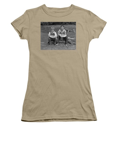 Boys Eating Watermelons, C.1940s Women's T-Shirt (Junior Cut) by H. Armstrong Roberts/ClassicStock