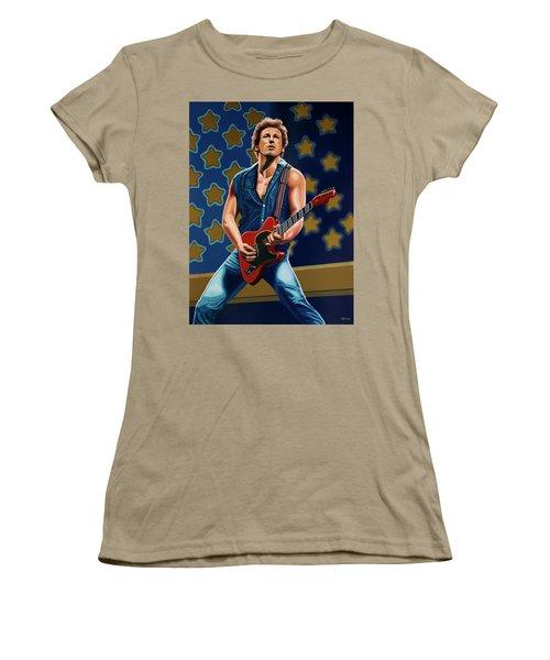 Bruce Springsteen The Boss Painting Women's T-Shirt (Junior Cut) by Paul Meijering