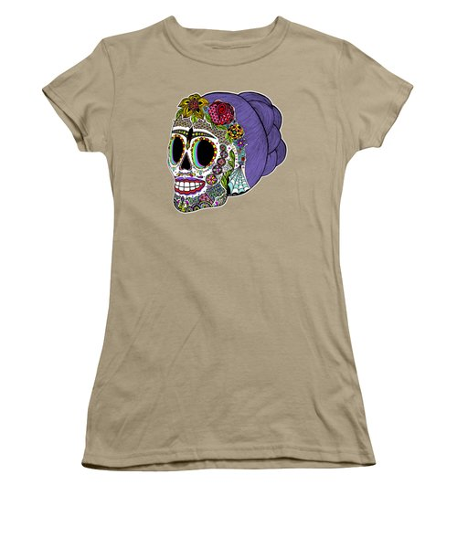Catrina Sugar Skull Women's T-Shirt (Junior Cut) by Tammy Wetzel