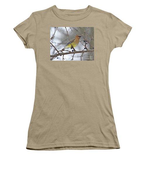 Cedar Wax Wing-2 Women's T-Shirt (Junior Cut) by Robert Pearson