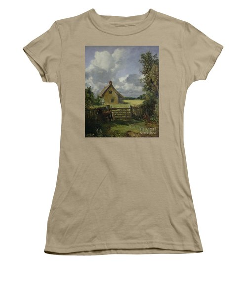 Cottage In A Cornfield Women's T-Shirt (Junior Cut) by John Constable