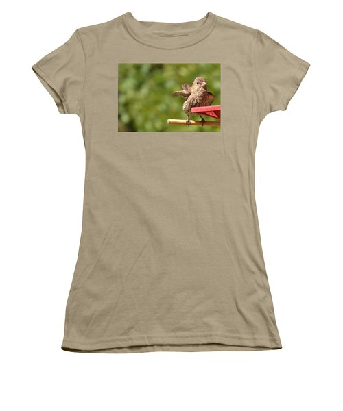 Crossbill Female At Feeder        Summer       Indiana Women's T-Shirt (Junior Cut) by Rory Cubel