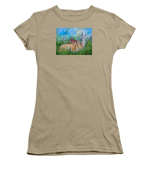 Deer Mom And Babe 24x18x1 Oil On Gallery Canvas Women's T-Shirt (Junior Cut) by Manuel Lopez