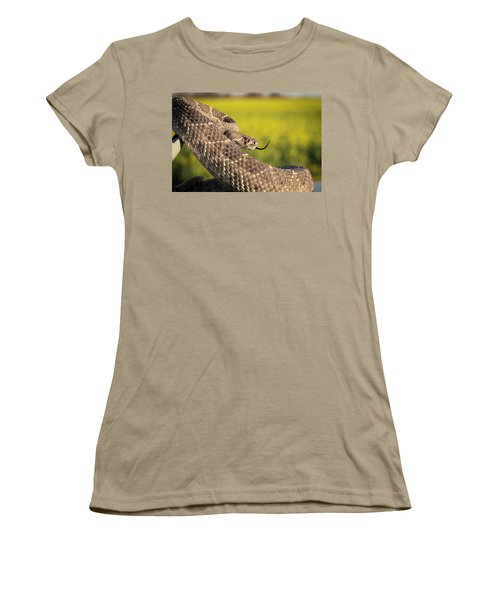 Diamondback And Canola Field Women's T-Shirt (Junior Cut) by Chris Harris