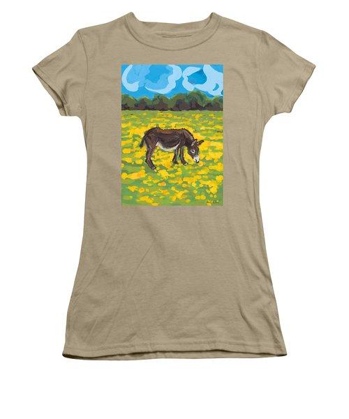 Donkey And Buttercup Field Women's T-Shirt (Junior Cut) by Sarah Gillard