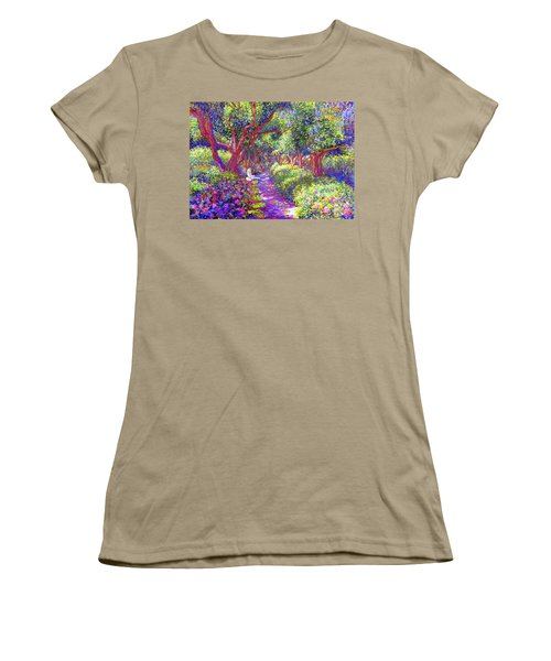 Dove And Healing Garden Women's T-Shirt (Junior Cut) by Jane Small