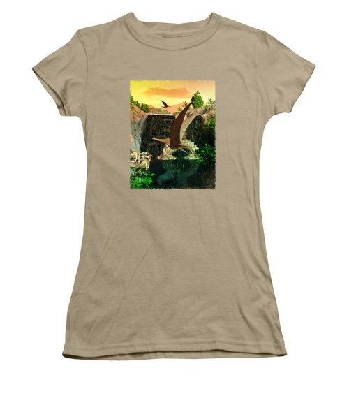 Fantasy Worlds 3d Dinosaur 2 Women's T-Shirt (Junior Cut) by Sharon and Renee Lozen