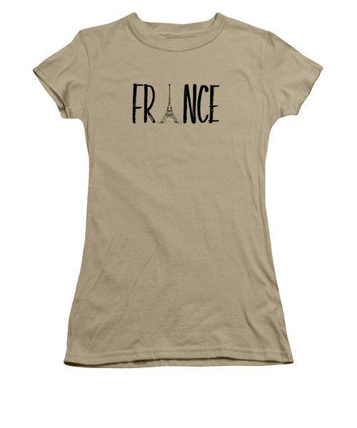 France Typography Women's T-Shirt (Junior Cut) by Melanie Viola