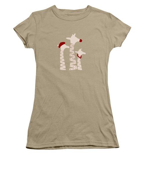 Giraffes Holiday Season Design Women's T-Shirt (Junior Cut) by Brigitte Carre