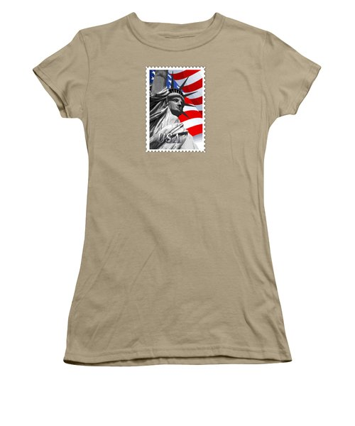 Graphic Statue Of Liberty With American Flag Text Usa Women's T-Shirt (Junior Cut) by Elaine Plesser