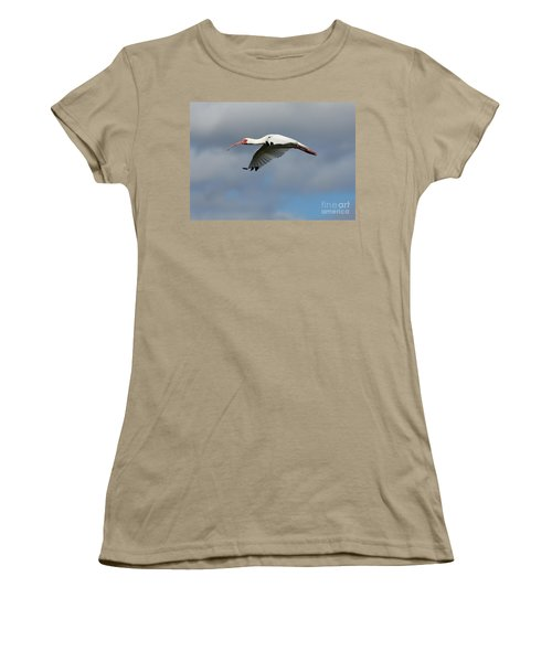 Ibis In Flight Women's T-Shirt (Junior Cut) by Carol Groenen