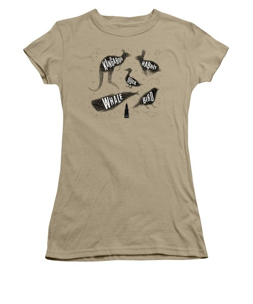 Kangaroo - Rabbit - Duck - Whale - Bird In Black Women's T-Shirt (Junior Cut) by Aloke Design