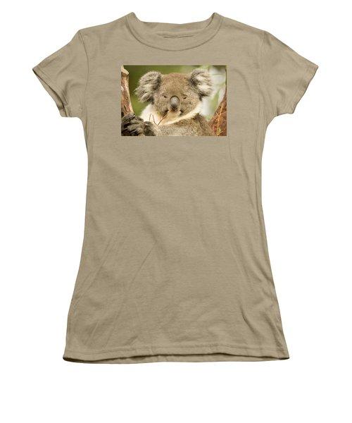 Koala Snack Women's T-Shirt (Junior Cut) by Mike  Dawson