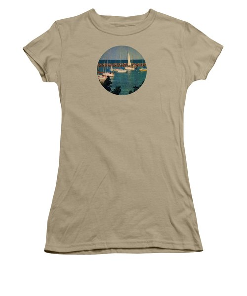 Lake Michigan Sailboats Women's T-Shirt (Junior Cut) by Mary Wolf