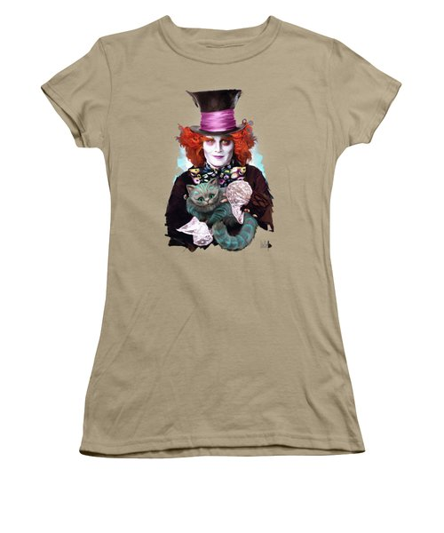Mad Hatter And Cheshire Cat Women's T-Shirt (Junior Cut) by Melanie D