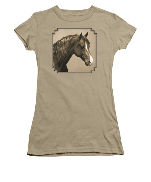 Morgan Horse Painting In Sepia Women's T-Shirt (Junior Cut) by Crista Forest