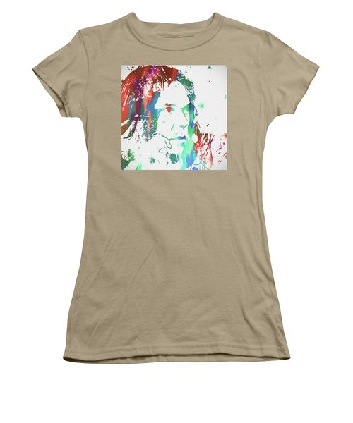 Neil Young Paint Splatter Women's T-Shirt (Junior Cut) by Dan Sproul