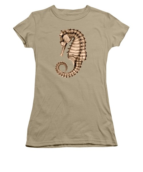 Northern Seahorse X-ray On Sepia Women's T-Shirt (Junior Cut) by George Green