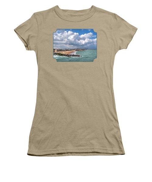 Ocean View - Colorful Beach Huts Women's T-Shirt (Junior Cut) by Gill Billington