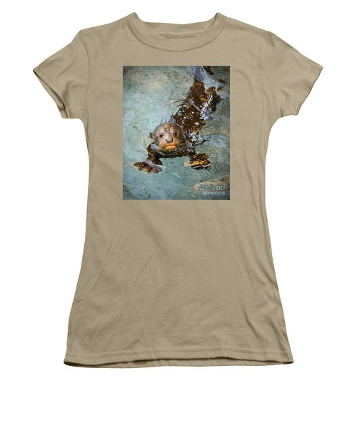 Otter Pup Women's T-Shirt (Junior Cut) by Jamie Pham