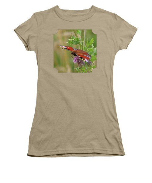 Peacock Butterfly On Thistle Square Women's T-Shirt (Junior Cut) by Gill Billington
