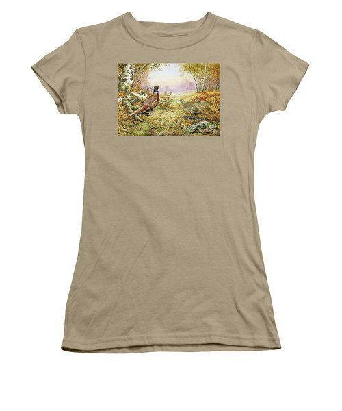 Pheasants In Woodland Women's T-Shirt (Junior Cut) by Carl Donner