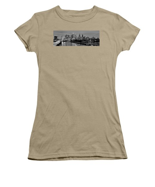 Philadelphia Philly Skyline At Dusk From Near South Bw Black And White Panorama Women's T-Shirt (Junior Cut) by Jon Holiday