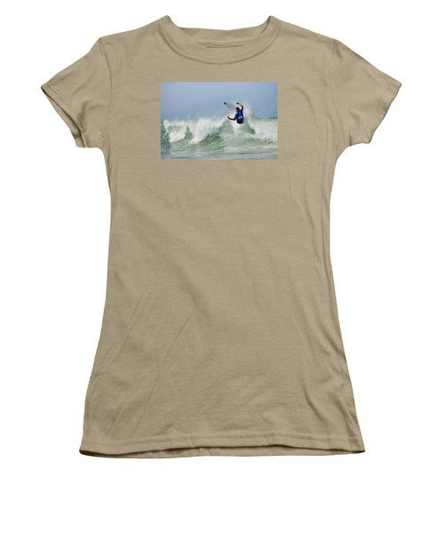 Women's T-Shirt (Junior Cut) featuring the photograph Quiksilver Pro France I by Thierry Bouriat