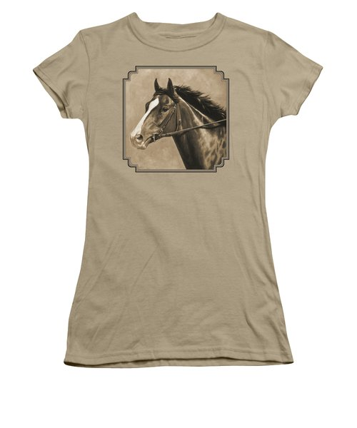 Racehorse Painting In Sepia Women's T-Shirt (Junior Cut) by Crista Forest