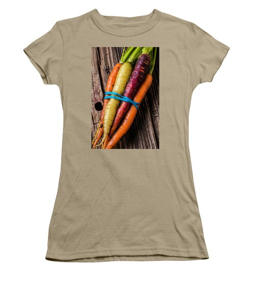 Rainbow Carrots Women's T-Shirt (Junior Cut) by Garry Gay
