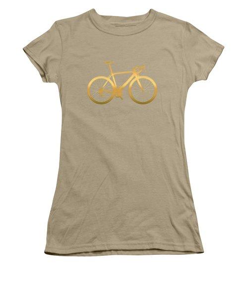 Road Bike Silhouette - Gold On Beige Canvas Women's T-Shirt (Junior Cut) by Serge Averbukh