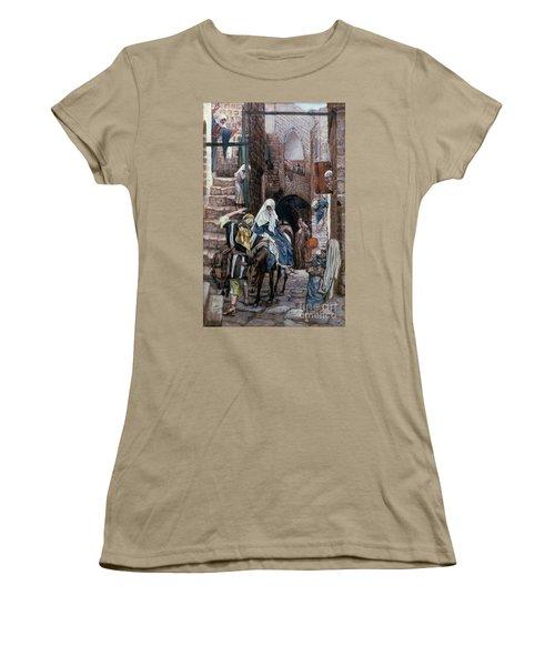 Saint Joseph Seeks Lodging In Bethlehem Women's T-Shirt (Junior Cut) by Tissot