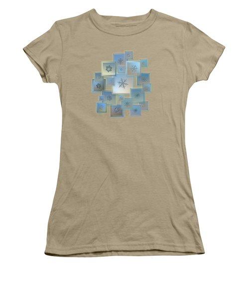 Snowflake Collage - Bright Crystals 2012-2014 Women's T-Shirt (Junior Cut) by Alexey Kljatov