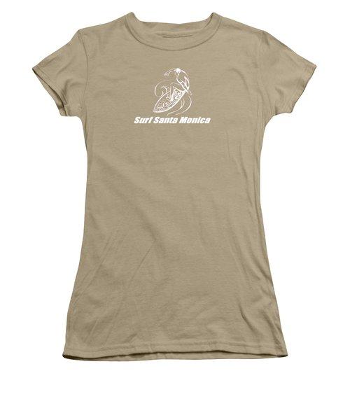 Surf Santa Monica Women's T-Shirt (Junior Cut) by Brian's T-shirts