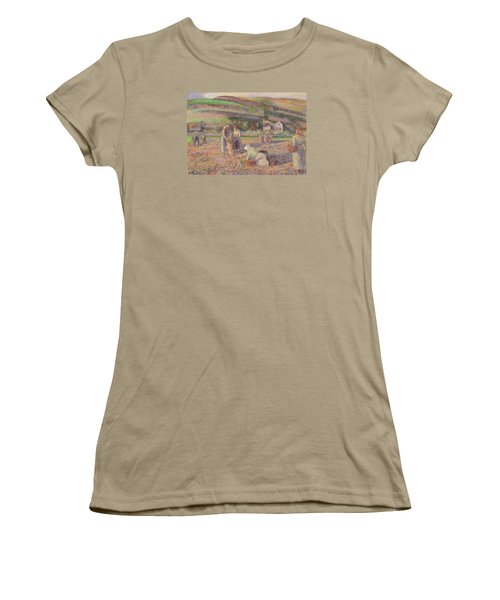 The Potato Harvest Women's T-Shirt (Junior Cut) by Camille Pissarro