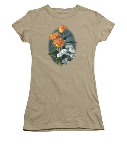 Three Roses Women's T-Shirt (Junior Cut) by Lucie Bilodeau