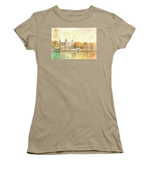 Tower Of London Watercolor Women's T-Shirt (Junior Cut) by Juan Bosco