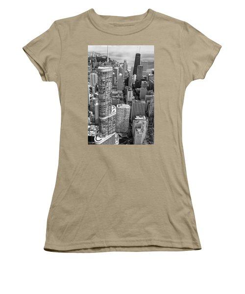 Trump Tower And John Hancock Aerial Black And White Women's T-Shirt (Junior Cut) by Adam Romanowicz