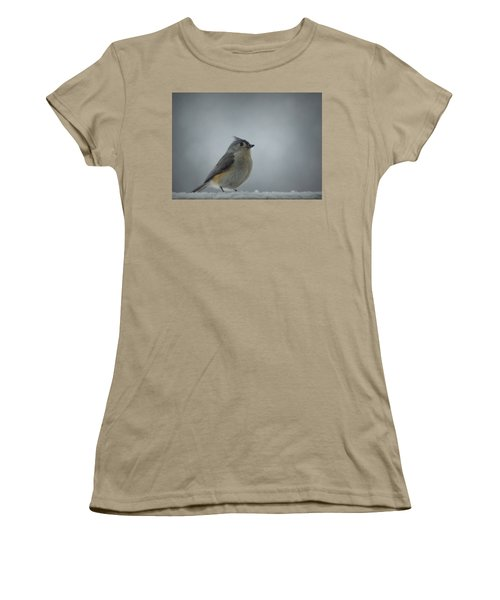 Tufted Titmouse In The Snow Women's T-Shirt (Junior Cut) by Cricket Hackmann