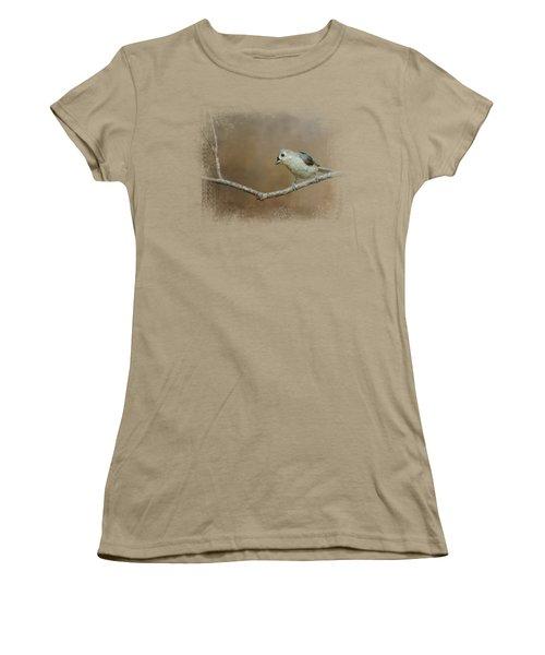 Visiting Tufted Titmouse Women's T-Shirt (Junior Cut) by Jai Johnson